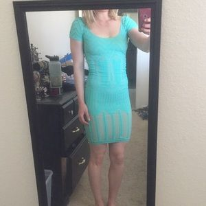 Bebe blue bodycon dress